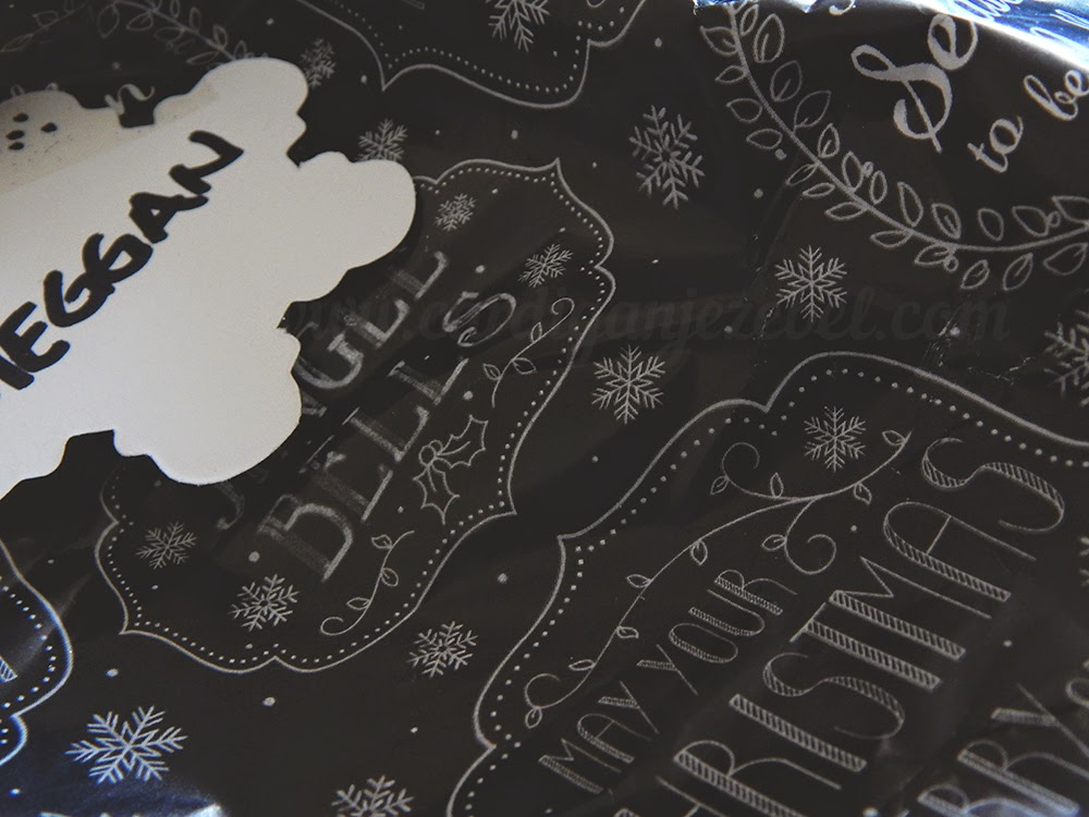 black and white typography christmas wrapping paper
