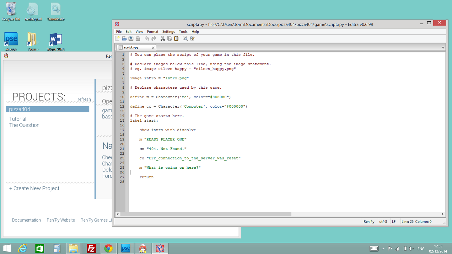Screen shot of first days code in ren'py