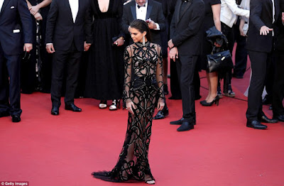Celebrity Kendall Jenner shows her back skin at red carpet of a movie screening in Cannes Festival on Sunday.