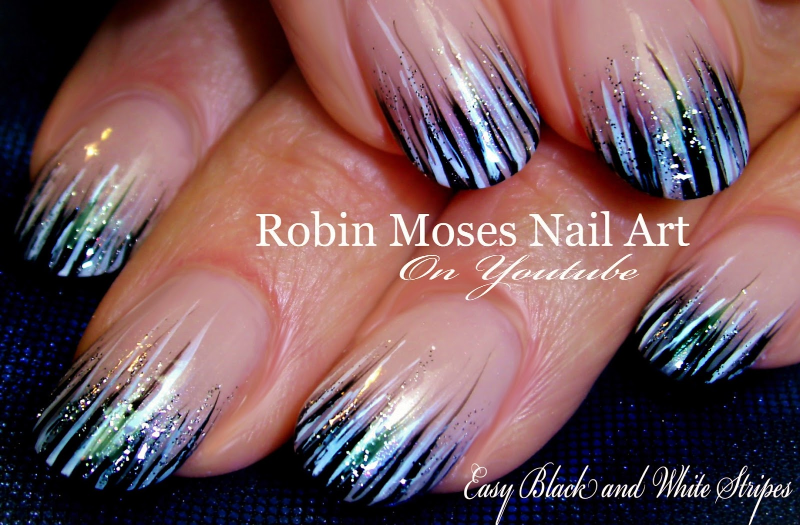 Nail Art by Robin Moses: Striped Spring nail art 2016