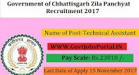 Government of Chhattisgarh Zila Panchyat Recruitment 2017– 14 Technical Assistant