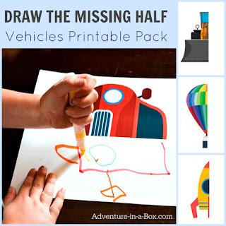 Imprimible para dibujar la otra parte de los medios de transporte y así trabajar la simetría