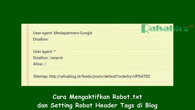 cara mengaktifkan dan setting robot.txt di blog