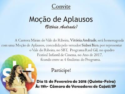 Cantora Mirim do Vale do Ribeira será homenageada na cidade de Cajati