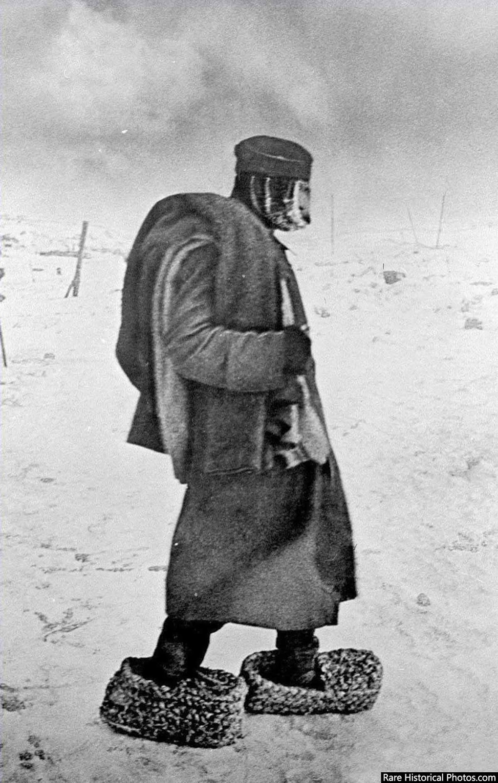 A captured German soldier. The desperate Germans had improvised to survive.