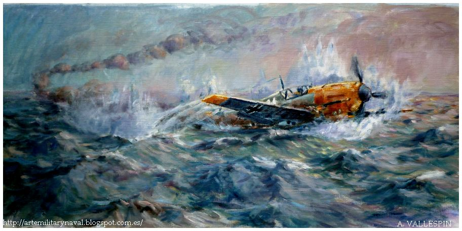 Pintura del amerizaje de Hans-Joachim Marseille sobre el Canal