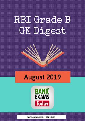 RBI Grade B GK Digest: August 2019