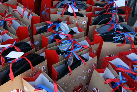 Donations packed into Christmas Bags by Winning Form Group for Blue Roof Wellness Centre