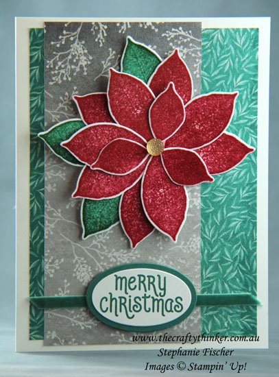 #thecraftythinker #christmascard #cardmaking #poinsettiacard #rootedinnature #stampinup , Christmas card, Poinsettia, Rooted in Nature, Frosted Florals SDSP, Stampin Up Australia Demonstrator, Stephanie Fischer, Sydney NSW