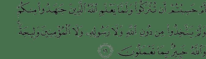 Surat At Taubah Ayat 16