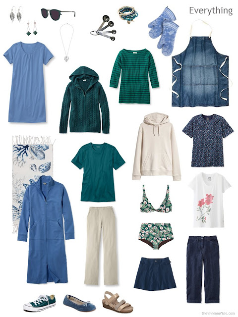 a travel wardrobe for a cool summer weekend at the lake house