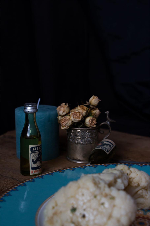 Coliflor con salsa de rabo