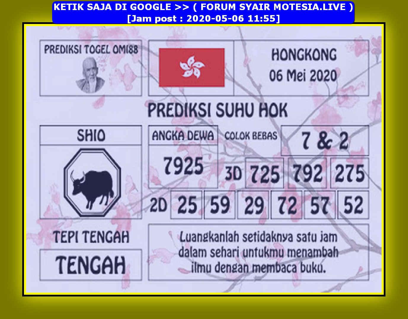 Kode syair Hongkong Rabu 6 Mei 2020 206