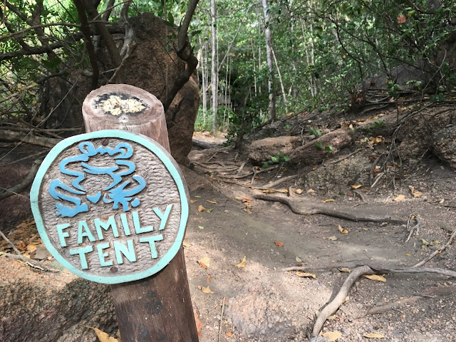Family tent sign, Mumbo Island