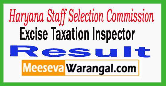 HSSC Excise Taxation Inspector Result 2017