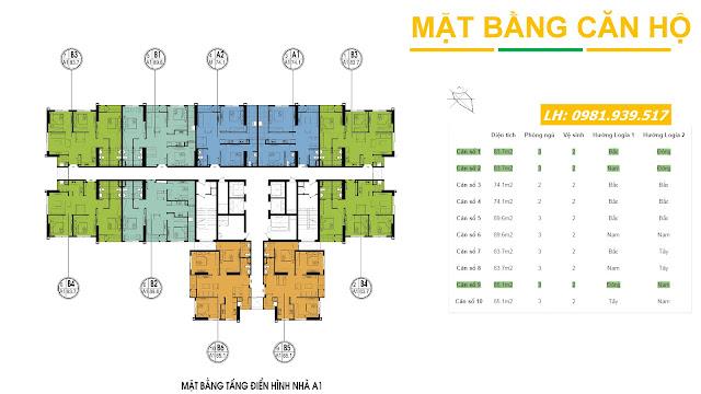 Mặt bằng tòa A1 chung cư An Bình City - Phạm Văn Đồng(