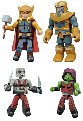 "Walgreen's Exclusive Marvel Animated Universe Minimates Series 2 - Avengers Assemble ""Dark Avengers"" Thor with Thanos & Guardians of the Galaxy Gamora with Drax and baby Groot"
