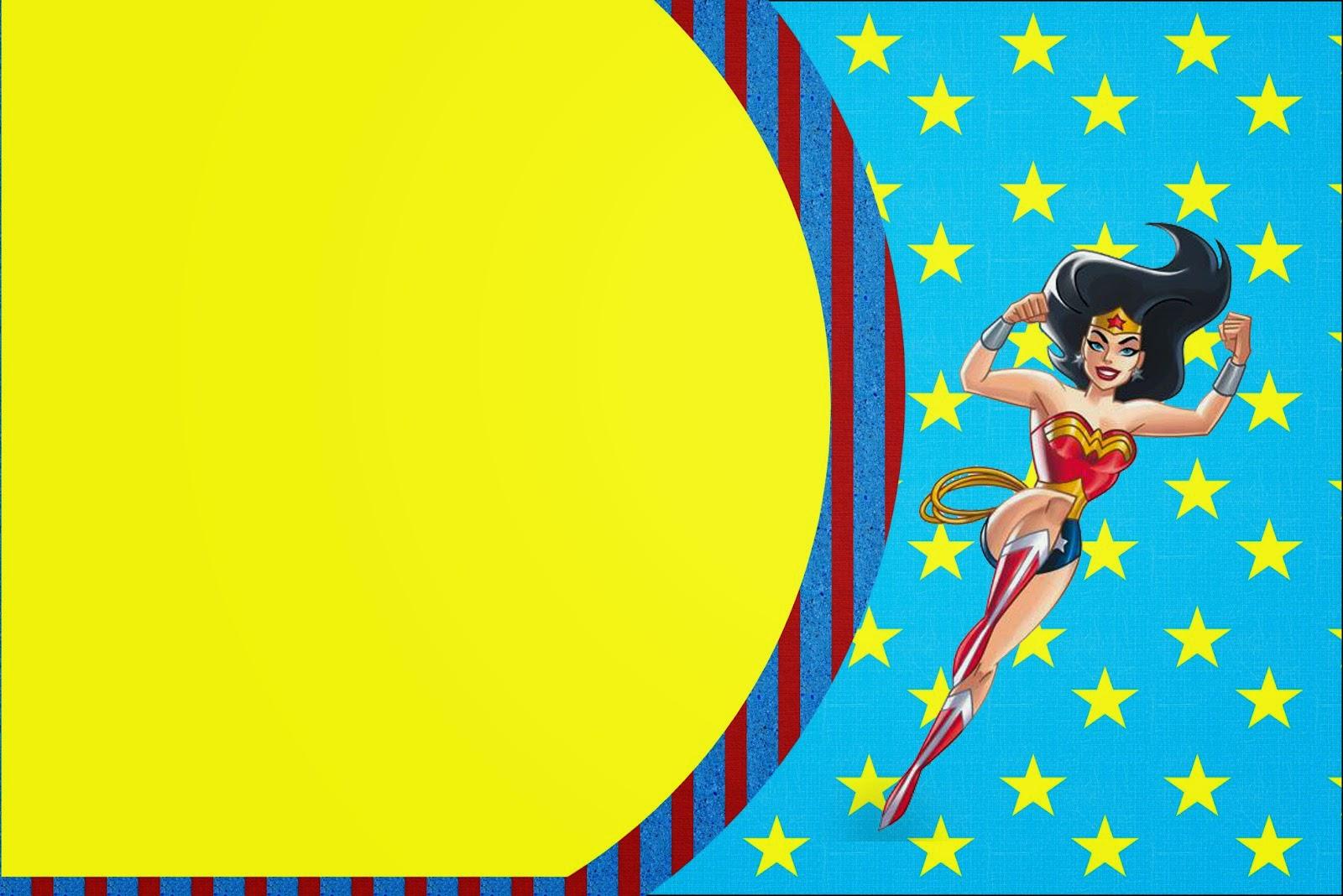 Para hacer invitaciones, tarjetas, marcos de fotos o etiquetas, para imprimir gratis de Mujer Maravilla