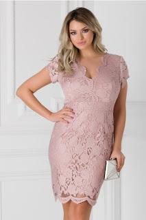 Rochie scurta de seara eleganta roz prafuit din dantela