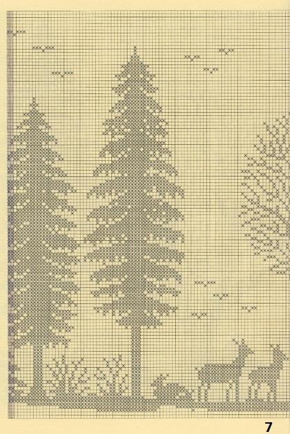 Лес. Филейные шторы крючком и вышивка (7)