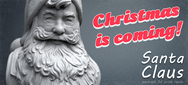 Santa Claus 3d sculpture for 3d-printing, CNC carving