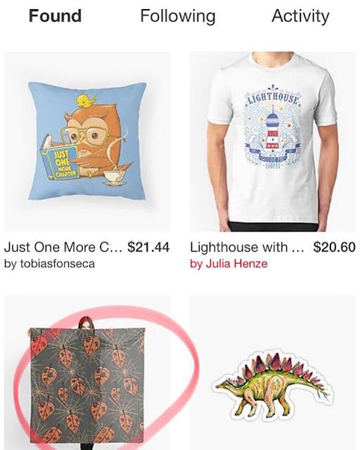 screenshot from Redbubble's Found page