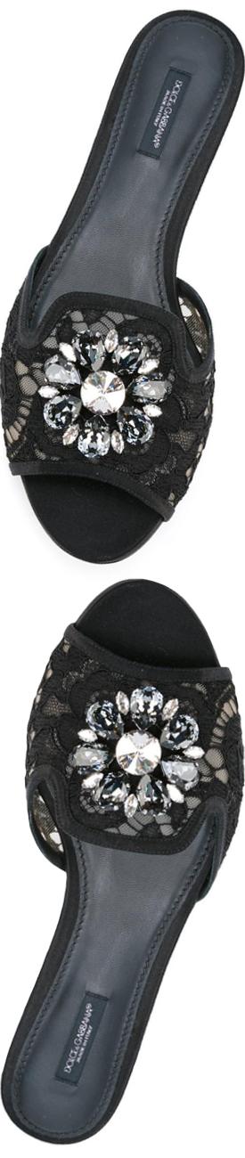 Dolce & Gabbana Flat Embellished Sandal
