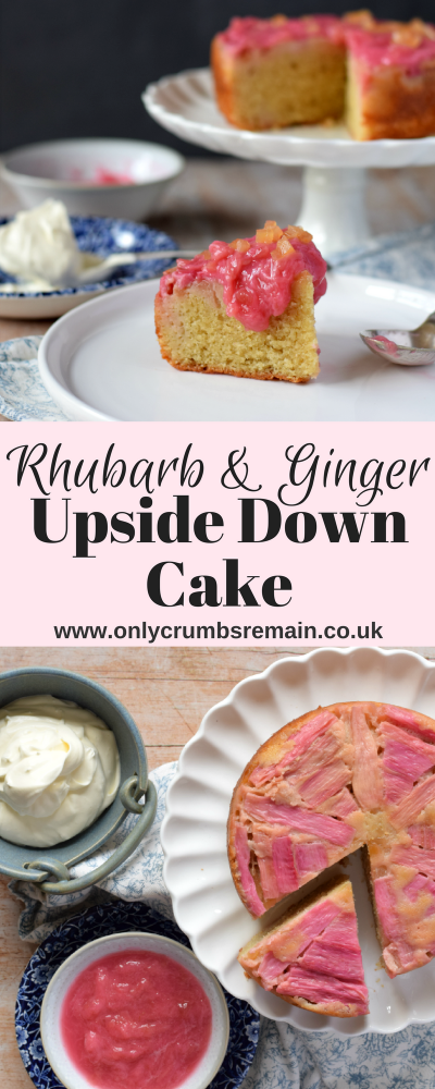 This lightly spice Rhubarb & Ginger Upside Down Cake makes great use of seasonal forced rhubarb, and marries well with the warming ginger.  It's an easy cake recipe perfect for a mid week sweet treat.