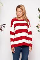 Pulover SunShine rosu casual scurt tricotat cu croi larg cu maneci lungi si dungi • SunShine