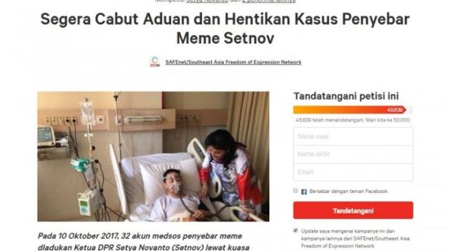 Petisi Meme Setnov Mendapat Dukungan 48.925 Warganet