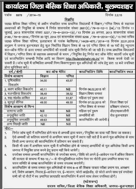 Bulandshahar JRT UP 29334 Merit list 7th Cut off