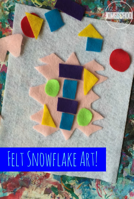 Felt Snowflake Art - this fun winter craft for kids is perfect  for a snowman or snow theme to help preschool, kindergarten, or first grade with a fun math twist.