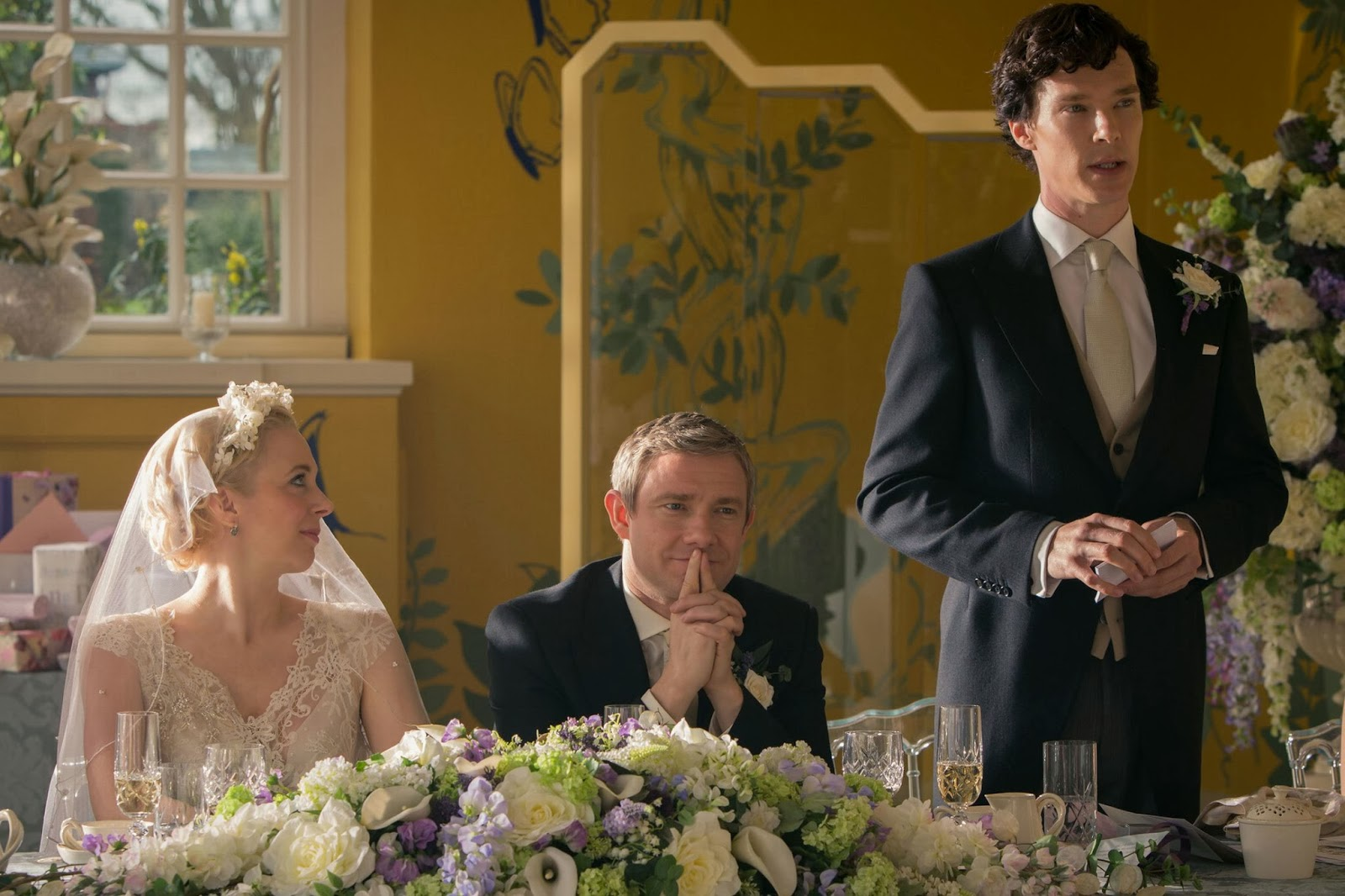 Benedict Cumberbatch as Sherlock Holmes delivers the best man speech at the wedding of John Watson and Mary Morstan in BBC Sherlock Season 3 Episode 2 The Sign of Three
