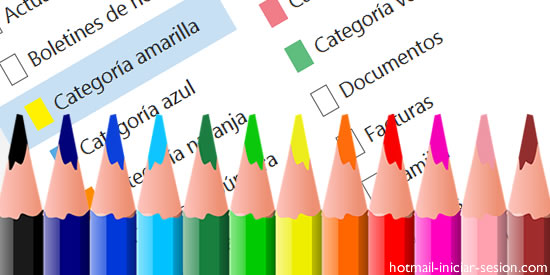 bandeja de entrada de Hotmail iniciar sesion con las categorías de colores.