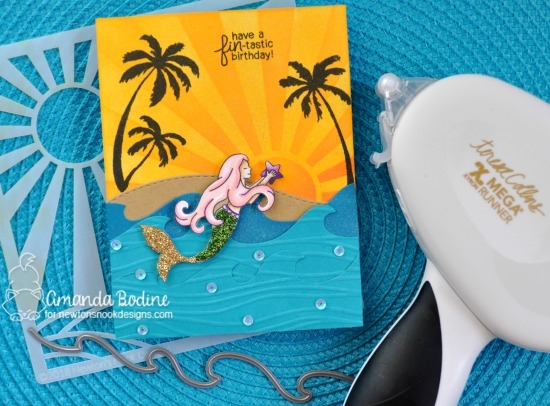 Newton's Nook Designs & Xyron Inspiration Week - Day 3 | Mermaid Scene by Amanda Bodine using Sunscape Stencil, Mermaid Crossing Stamp Set and dies from Newton's Nook Designs with Mega Runner from Xyron #newtonsnook #xyroninc