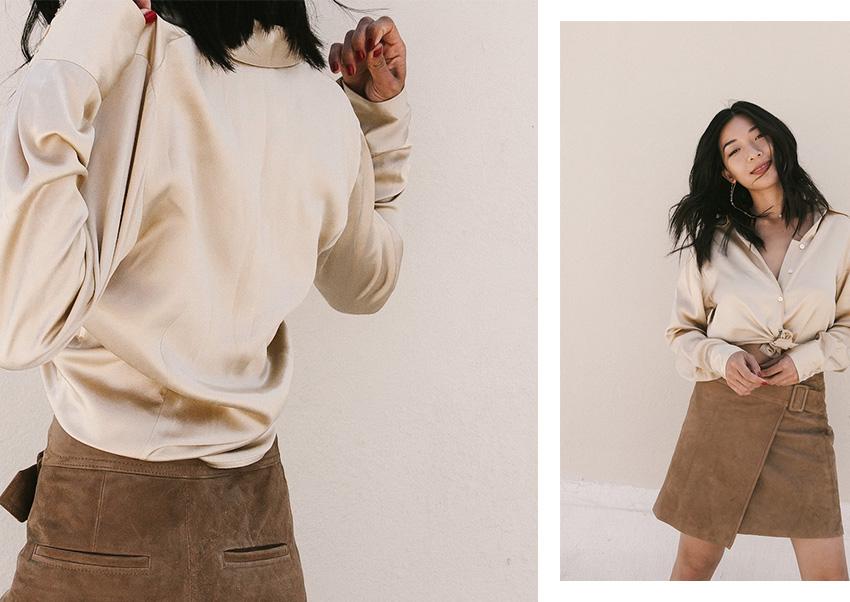 Honey & Silk wearing vintage silk, VINCE skirt.