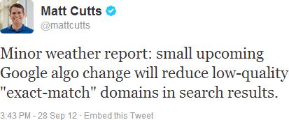 matt cutts mengatakan algo EMD hanya untuk website low-quality