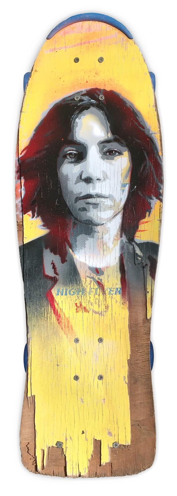 A skatedeck artwork of Patti Smith created by artist James Straffon
