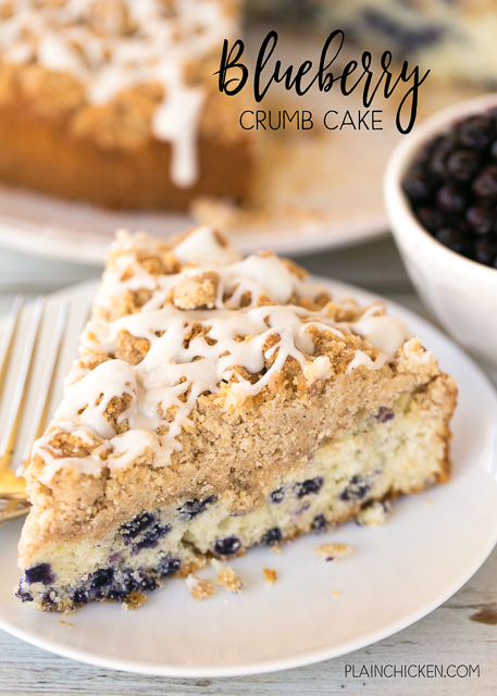 Blueberry Crumb Cake - easy and delicious breakfast treat! Blueberry muffin mix topped with an easy crumb topping. Seriously DELICIOUS! Martha White blueberry muffin mix, milk, sugar, brown sugar, cinnamon, flour, butter, powdered sugar, vanilla. Can make ahead and reheat in the morning. Great for breakfast or dessert!! YUM!