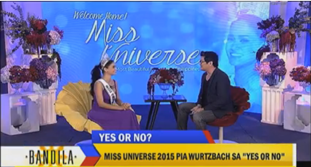 Exclusive interview of Julius Babao to Miss Universe Pia Wurztbach on Bandila.