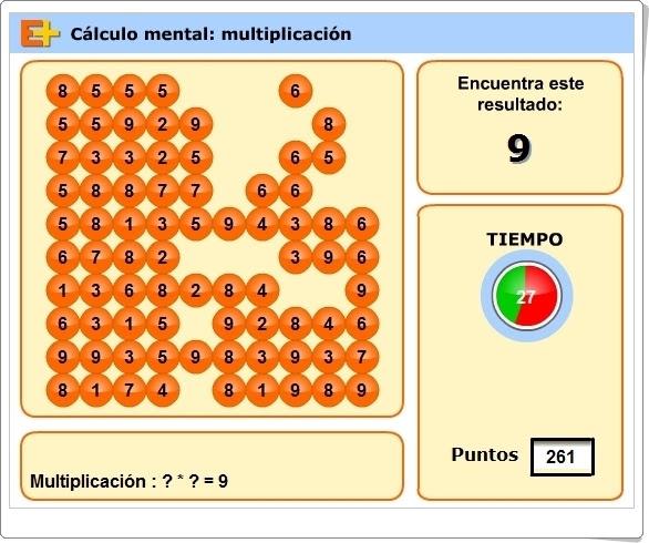 """""""Cálculo mental: Multiplicación"""" (Juego de Matemáticas de Primaria)"""