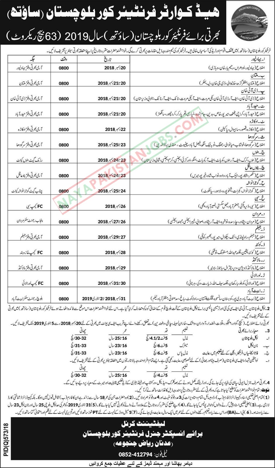 Fc balochistan jobs, Latest Vacancies Announced in Headquarter Frontier Corps Balochistan (South) for Year 2019 - Naya Pakistan