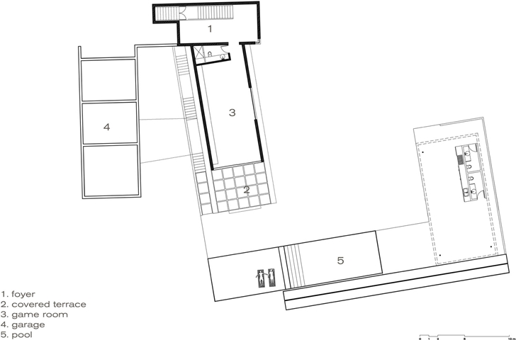First floor plan of Modern contemporary CT House in Mexico
