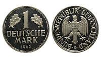 1 Alman markı madeni parasının arkalı önlü bir resmi