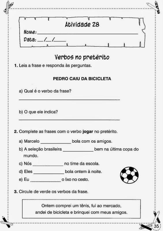 Atividades De Portugues Para O 3 Ano Para Imprimir Espaco Educar