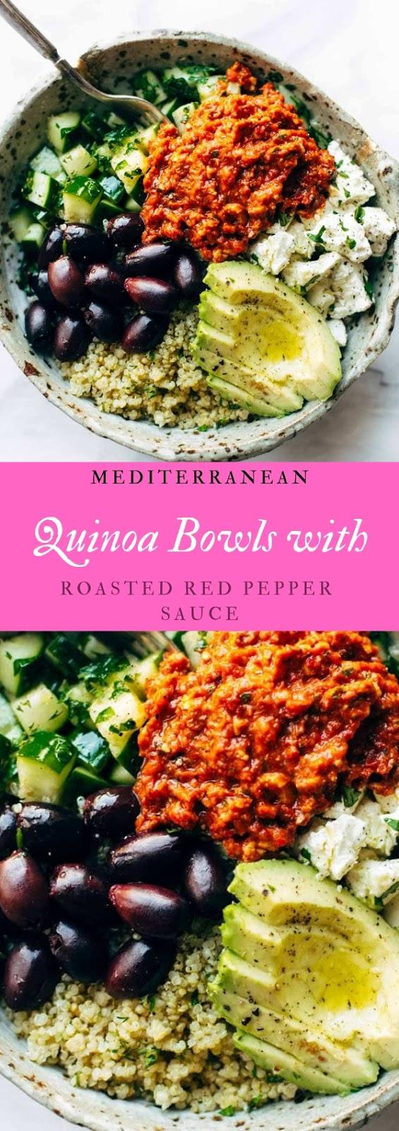 Mediterranean Quinoa Bowls with Roasted Red Pepper Sauce #dinner #diet #food #meditteranean #quinoa 3bowl #roasted #redpepper #sauce