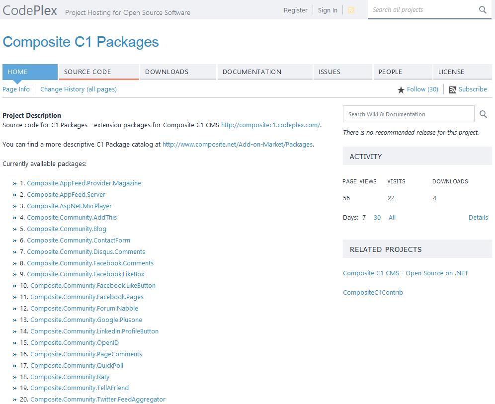Пакеты/модули расширения возможностей Composite C1 CMS с открытым исходным кодом (open source) на CodePlex