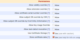EJBCA Certificate Profile override and certificate storage options