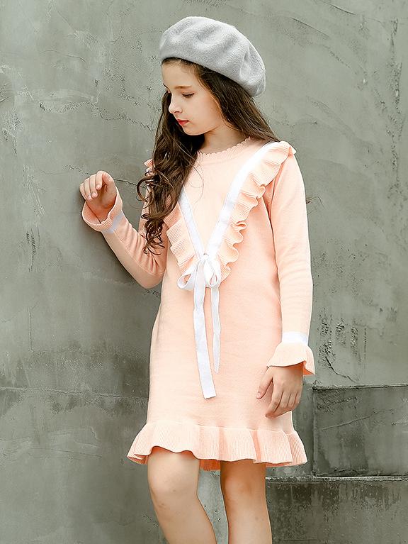 Korean Ruffles Bow Knitted Dress