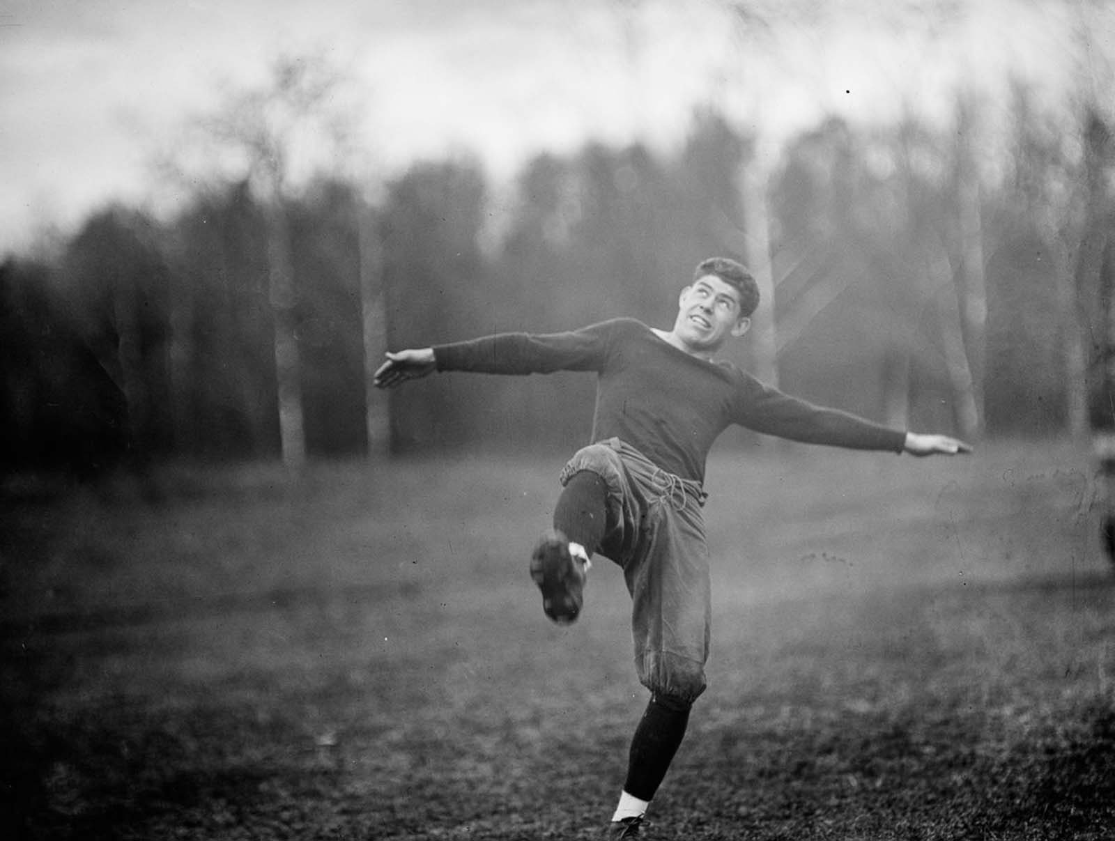 In the late 19th and early 20th centuries, gameplay developments by college coaches such as Eddie Cochems, Amos Alonzo Stagg, Parke H. Davis, Knute Rockne, and Glenn